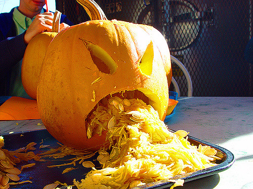 Picture Of Pumpkin Carved To Look LIke It Is Barfing