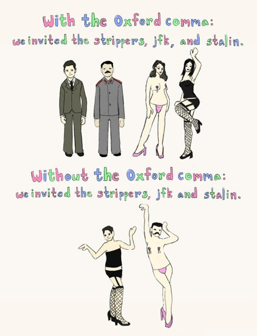 Cartoon Illustrating Reason And Use Of Oxford Commas.